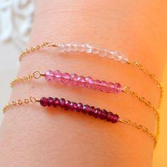 NEW Gold Stacking Bracelet Set Rose Quartz Pink by livjewellery https://www.etsy.com/listing/218190428/new-gold-stacking-bracelet-set-rose