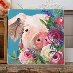 Pig portrait with flowers painting ...Michele (@homeswedehomeshop) on Instagram