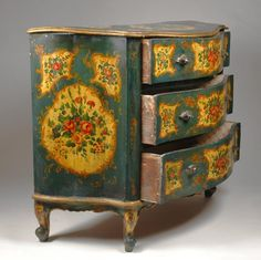 ~ Stunning Hand Painted 'Rococo' Stlye Venetian Commode ~ (Late 19th Century)