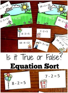 This printable is part of my 5 Equation Activities for Early Elementary. This fun carnival themed sort has children solving equations and deciding if they are true or false. 1.OA.D.7 and 1.OA.D.8$