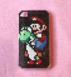 Super Mario IPhone 4 4S Cover IPhone Case Hama beads by obscurepastels