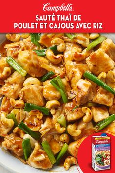 Campbell's Thai cashew chicken stir fry with rice Asian Recipes, New Recipes, Cooking Recipes, Healthy Recipes, Favorite Recipes, Cooking Fish, Cashew Recipes, Thai Chicken Recipes, Recipes