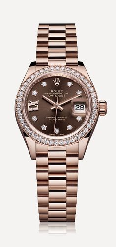 Rolex Lady-Datejust 28 in 18ct Everose gold with a chocolate dial, diamond-set bezel and luxurious President bracelet.