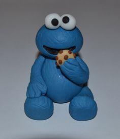 Edible Fondant Cookie Monster Cake  Topper
