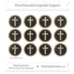 Free Cross Cupcake Toppers with Pastel Bright Orange Chalk