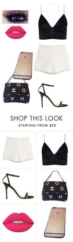 """""""Jade Pearl"""" by kissesari on Polyvore featuring Moschino Cheap & Chic, T By Alexander Wang, Jimmy Choo, Chanel, Lime Crime and Anita Ko"""
