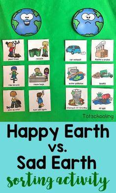 This FREE Earth Day sorting activity goes beyond just recycling, teaching kids about how to take care of our planet through conservation, cleaning, reusing and planting. It also introduces children to air, water and land pollution. Planets Activities, Earth Day Activities, Sorting Activities, Science Activities, Activities For Kids, Kindergarten Activities, Earth Craft, Earth Day Crafts, Earth Day Projects