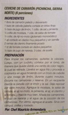 Recetas de cocina ecuatoriana. Ceviche de camarón | https://lomejordelaweb.es/