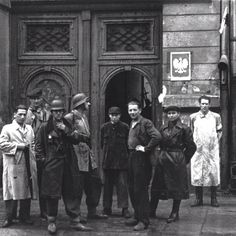 """First days of August Warsaw, Soldiers of """"Chrobry II"""" battalion in front of Dering Factory on Grzybowska Street in Wola Dostrict, Warsaw From Wikimedia Commons Warsaw Ghetto Uprising, Poland Ww2, Red Army, Wikimedia Commons, World War Two, Wwii, Christianity, Nostalgia, Death"""
