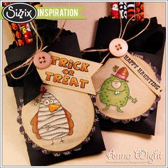 Halloween Pockets by Anna Wight. Make pockets from black card stock. Stamp Halloween images on tags cut from card stock. Hand cut sentiment banners and tie all on pockets.
