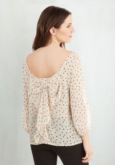 Flash Fete Top in Dots. When you styled this cream blouse with tiny black dots this morning, you never suspected it would become party apparel! #cream #modcloth