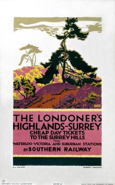 'The Londoner's Highlands - Surrey, SR poster, 1926.