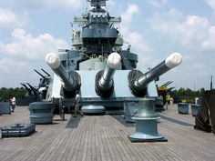 USS North Carolina (BB-55) - stern Conning Tower / Superstructure and aft-most 16 inch 45 calibre mark 6 Naval Guns (in a single stern turret).