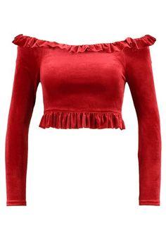 half off f1d59 96e03 FRILL CROP PEPLUM - Langarmshirt - red  Zalando.de 🛒