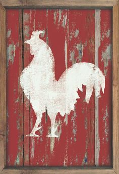Wooden Rooster sign framed out in reclaimed by DesignHouseDecor