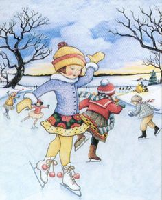 This magnet features a lovely ice skater on a frozen lake. Size is about 2 by 3 It's heat laminated (using highest quality edge-sealed lamination) with full-size magnet on the back. From a pet-free, non-smoking home. Christmas Art, Christmas Greetings, Christmas And New Year, Vintage Christmas, Winter's Tale, Mary Engelbreit, Winter Beauty, Christmas Illustration, Winter Time