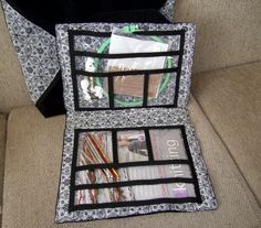 Tote Bag Project Organizer for Needlework, Cross Stitch, Jewelry Making black and chartreuse