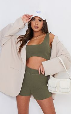 Khaki Ribbed Detail Bralet And Short Set | PrettyLittleThing Strappy Crop Top, Fresh Kicks, Short Set, Off Duty, S Models, Lounge Wear, Must Haves, Knitwear, Short Dresses
