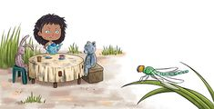 Trying to have a fun tea party, but there's an unexpected guest. Gabriela Issa art