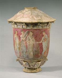 """ancientpeoples: """" Polychrome terracotta vase, made for a tomb, showing a bride and three female attendants. Centuripe, Sicily, century B. (Hellenistic period) Source: The Metropolitan Museum of Art """"centuripe sicilia Ancient Greek Art, Ancient Romans, Ancient History, Art History, Ancient Greece, Greek History, Historical Artifacts, Ancient Artifacts, Art Et Architecture"""