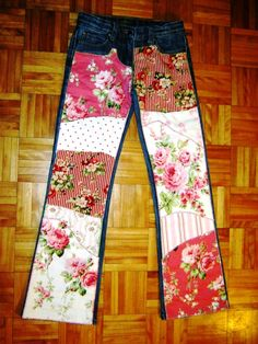 CLEARANCE Rambling Rose Patchwork Jeans  Funky by 4getmeknot, $75.00