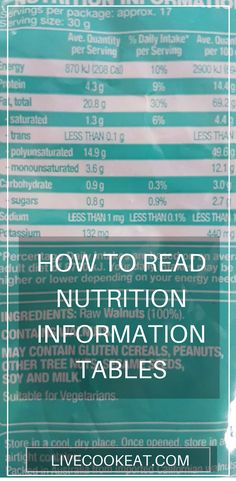 How to Read the New Nutrition Information Tables