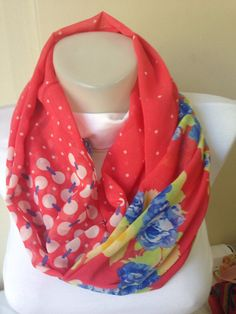Fabric Scarf in Reddish Orange with Flowers by Yellowcrochet