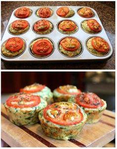 100 gr spinazie 75 gr Feta 100 gr Chedder 2 tomaten [12 plakjes] 250 gr meel 2 theelps bakpoeder 2 eieren 60 ml olijfolie 240 ml melk verse thijm, zeezout en peper Meel, bakpoeder, zout, chedder en thijm door elkaar roeren. Apart de olijfolie, eieren en spinazie door elkaar en dan de melk erbij. Alles door elkaar roeren en als laatste de Feta kruimels. Vul het beboterde muffinblik en tomatenschijf erop met wat thijm, zeezout en peper. Oven op 180 graden en 25-30 min. bakken. by Marianella…