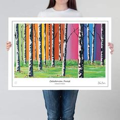 Steven's uplifting Caledonian Forest is a familiar taste of Scotland, but rainbow colours add a very special, uplifting feel to this collection. Steven Brown Art, Steven S, Rainbow Colours, Modern Art, Scotland, Artists, Wall Art, Feelings, Abstract