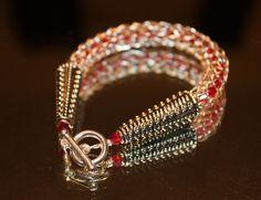 Red Crystal Bracelet in the Viking Weave. $32.59