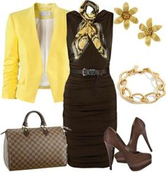 outfit with brown dress and yellow jacket