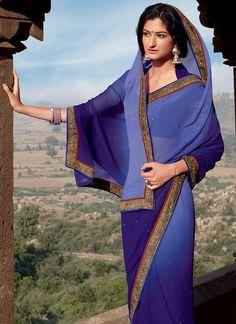 Beautiful Blue Chiffon Saree : Cbazaar