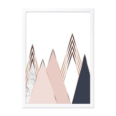 Mountain Print Framed A2 Poster in Pink | Wall Art