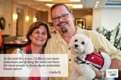Linda H., her husband Robert, who is living with metastatic breast cancer, and their dog Bailey | Check out the MBCA Day interactive photo/video wall at www.FacesofMBC.org