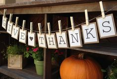 Give Thanks Bunting Banner / Sign for Thanksgiving Decoration in the Home. $12.00, via Etsy.