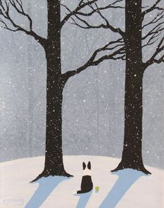 Happiness In Living Alone Revealed In 65 Illustrations By Korean Artist- Border Collie dog Winter LARGE Art Print by Todd Young Painting Snow, Winter Painting, Winter Art, Large Painting, Winter Illustration, Illustration Art, Monet, Winter Drawings, Large Art Prints