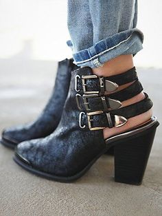 Cutout booties with buckle detail - obsessed.