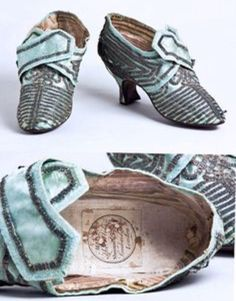 10th August 1792 shoes: candidate #3 - a light blue silk pair possibly dating from the 1770's or 1780's judging from the style of cut and the shape of the heel. It's possible these are the shoes the Queen wore on that terrible day - but I don't think it's probable.