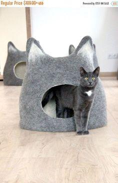 Huisdier bed - bed kat - kat cave - cat house - eco-vriendelijke handgemaakte Gevilte wol kat bed - natuurlijke grey met daglicht - op bestelling gemaakt