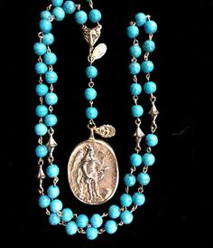 Cristo Rey Rosary Necklace with Saint Michael & Guadalupe in Turquoise - Whispering Cowgirl Jewelry Art, Beaded Jewelry, Vintage Jewelry, Jewelry Accessories, Handmade Jewelry, Jewelry Design, Rosary Necklace, Drop Necklace, Saint Michael