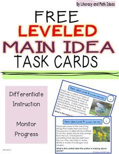 Free Leveled Main Idea Task Cards