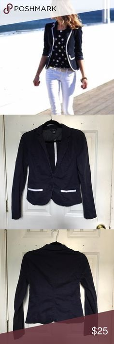 US POLO ASSN Navy Blazer This cute navy blazer is made out of 100% cotton and features adorable white lining on the pockets. Fitted to complement your body shape!! Worn once and washed & in great condition. Size S, but very fitted, so suitable for XS/S. (Cover photo is only meant to show similar style, does not depict actual item) U.S. Polo Assn. Jackets & Coats Blazers