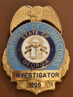 Investigator, Department of Corrections, State of Georgia (Blackinton) Law Enforcement Badges, Law Enforcement Officer, Norfolk County, California Highway Patrol, Department Of Corrections, Georgia, Police, Patches, Military