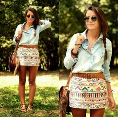 Cute Colourfull Mini Skirt With Denim Shirt And Shoulder Bag Cute Outfit