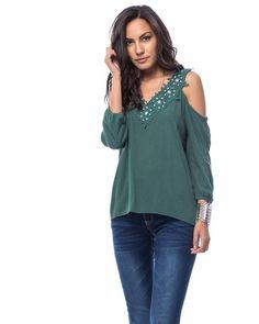 Jade Green Jeweled Applique Cold Shoulder Top