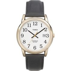 Timex Men's T2H291 Easy Reader Goldtone Case Black Leather Strap Watch | Overstock.com Shopping - The Best Deals on Timex Men's Watches