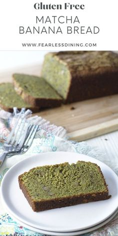 Grab a slice of this moist and delicious gluten free matcha green tea banana bread and enjoy breakfast! Full of ripe bananas and smooth matcha flavors, add optional nuts to make this the best banana bread recipe. fearlessdining Good Gluten Free Bread Recipe, Gluten Free Recipes, Vegetarian Recipes, Healty Dinner, Best Banana Bread, Matcha Green Tea, Banana Bread Recipes, Bananas, Food To Make