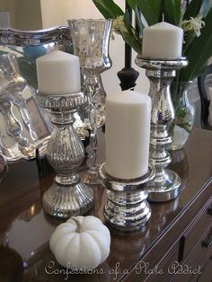 mercury candle sticks for table setting