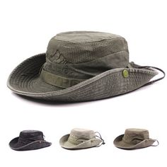 9022eb9bdf9 Mens Summer Cotton Embroidery Visor Bucket Hats Fisherman Hat Outdoor  Climbing Mesh Sunshade Cap Fashion Hats
