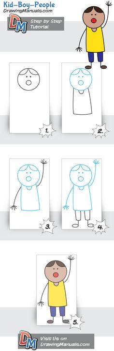 How to Draw a Kid, Boy, step-by-step tutorial for kids and beginners http://drawingmanuals.com/manual/how-to-draw-a-kid-boy/